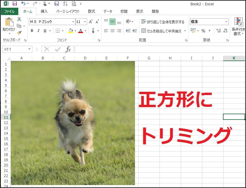 エクセルで画像を正方形にトリミングする方法