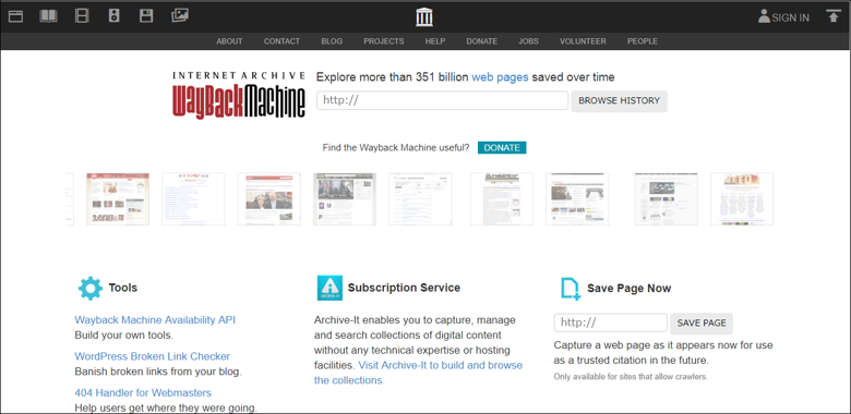 Way Back Machineのトップページ画面