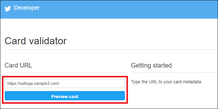 URLにブログのURLを入力し『Preview card』をクリック